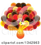 Clipart Of A Peacock Bird With Autumnal Colored Feathers Royalty Free Vector Illustration by ColorMagic