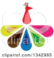 Clipart Of A Peacock Bird With Colorful Feathers Royalty Free Vector Illustration by ColorMagic