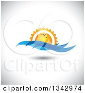 Clipart Of Seagulls Flying Against An Ocean Sunset With Blue Waves Over Shading Royalty Free Vector Illustration by ColorMagic