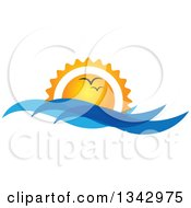 Clipart Of Seagulls Flying Against An Ocean Sunset With Blue Waves Royalty Free Vector Illustration