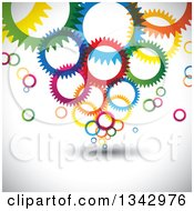 Clipart Of A Background Of Colorful Gear Cog Wheels Over Shading Royalty Free Vector Illustration