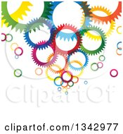 Clipart Of A Background Of Colorful Gear Cog Wheels Royalty Free Vector Illustration