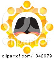 Clipart Of A Bible Study Group Of Orange People In A Gear Like Circle Around An Open Book Royalty Free Vector Illustration