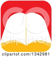 Clipart Of A Book With Open Pages Over A Red Rounded Corner Square Royalty Free Vector Illustration