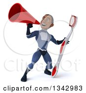 Clipart Of A 3d Young Black Male Super Hero Dark Blue Suit Holding A Giant Toothbrush And Announcing With A Megaphone Royalty Free Illustration