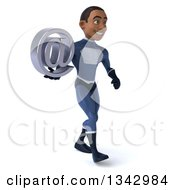 Clipart Of A 3d Young Black Male Super Hero Dark Blue Suit Holding An Email Arobase At Symbol And Walking Slightly To The Right Royalty Free Illustration