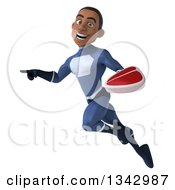 Clipart Of A 3d Young Black Male Super Hero Dark Blue Suit Holding A Beef Steak Flying And Pointing To The Left Royalty Free Illustration