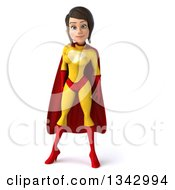 Clipart Of A 3d Brunette White Female Super Hero In A Yellow And Red Suit Royalty Free Illustration
