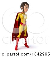 Clipart Of A 3d Brunette White Female Super Hero In A Yellow And Red Suit Facing Slightly Right Royalty Free Illustration