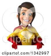 Clipart Of A 3d Brunette White Female Super Hero In A Yellow And Red Suit Smiling Over A Sign Royalty Free Illustration