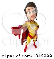 Clipart Of A 3d Brunette White Female Super Hero In A Yellow And Red Suit Holding Up A Thumb Down Royalty Free Illustration