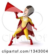 Clipart Of A 3d Brunette White Female Super Hero In A Yellow And Red Suit Announcing To The Left With A Megaphone Royalty Free Illustration