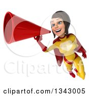 Clipart Of A 3d Brunette White Female Super Hero In A Yellow And Red Suit Flying And Announcing To The Left With A Megaphone Royalty Free Illustration