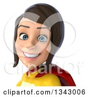 Clipart Of A 3d Brunette White Female Super Hero In A Yellow And Red Suit Avatar Royalty Free Illustration by Julos