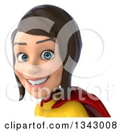Clipart Of A 3d Brunette White Female Super Hero In A Yellow And Red Suit Avatar 3 Royalty Free Illustration