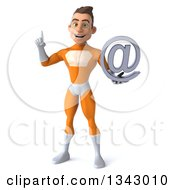 Clipart Of A 3d Young Brunette White Male Super Hero In An Orange Suit Holding Up A Finger And An Email Arobase At Symbol Royalty Free Illustration