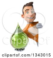 Clipart Of A 3d Young Brunette White Male Super Hero In An Orange Suit Holding A Green Medicine Tincture Droplet Around A Sign Royalty Free Illustration