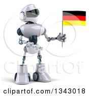 Clipart Of A 3d White And Blue Robot Holding And Presenting A German Flag Royalty Free Illustration