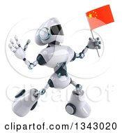 Clipart Of A 3d White And Blue Robot Facing Slightly Right Jumping And Holding A Chinese Flag Royalty Free Illustration
