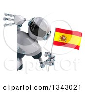Clipart Of A 3d White And Blue Robot Holding A Spanish Flag Around A Sign Royalty Free Illustration