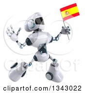 Clipart Of A 3d White And Blue Robot Jumping And Holding A Spanish Flag Royalty Free Illustration