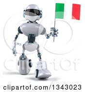 Clipart Of A 3d White And Blue Robot Walking And Holding An Italian Flag Royalty Free Illustration