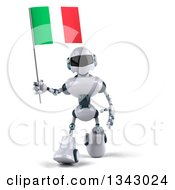 Clipart Of A 3d White And Blue Robot Walking And Holding An Italian Flag 2 Royalty Free Illustration