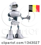 Clipart Of A 3d White And Blue Robot Holding And Presenting A Belgian Flag Royalty Free Illustration
