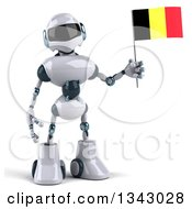 Clipart Of A 3d White And Blue Robot Holding A Belgian Flag Royalty Free Illustration