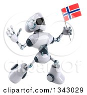 Clipart Of A 3d White And Blue Robot Facing Slightly Right Jumping And Holding A Norway Flag Royalty Free Illustration