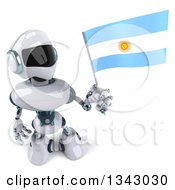 Clipart Of A 3d White And Blue Robot Holding Up An Argentine Flag Royalty Free Illustration