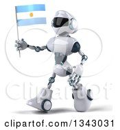 Clipart Of A 3d White And Blue Robot Walking Slightly To The Left And Holding An Argentine Flag Royalty Free Illustration