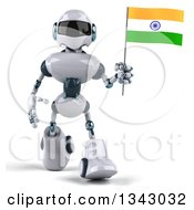 Clipart Of A 3d White And Blue Robot Walking And Holding An Indian Flag Royalty Free Illustration