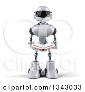 Clipart Of A 3d White And Blue Robot Reading A Book Royalty Free Illustration