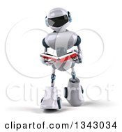 Clipart Of A 3d White And Blue Robot Walking And Reading A Book Royalty Free Illustration