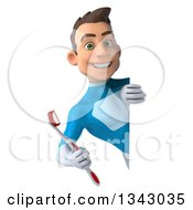 Clipart Of A 3d Young White Male Super Hero In A Light Blue Suit Holding A Toothbrush Around A Sign Royalty Free Illustration by Julos