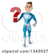 Clipart Of A 3d Young White Male Super Hero In A Light Blue Suit Holding A Question Mark And Walking Royalty Free Illustration by Julos