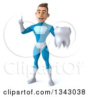Clipart Of A 3d Young White Male Super Hero In A Light Blue Suit Holding Up A Finger And A Tooth Royalty Free Illustration by Julos
