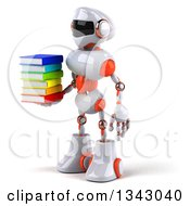 Clipart Of A 3d White And Orange Robot Facing Slightly Left And Holding A Stack Of Books Royalty Free Illustration
