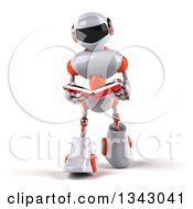 Clipart Of A 3d White And Orange Robot Walking And Reading A Book Royalty Free Illustration