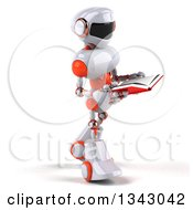 Clipart Of A 3d White And Orange Robot Walking Slightly To The Right And Reading A Book Royalty Free Illustration