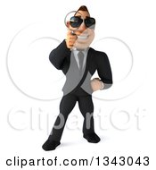 Clipart Of A 3d Macho White Businessman Wearing Sunglasses And Searching With A Magnifying Glass Royalty Free Illustration by Julos