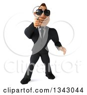 Clipart Of A 3d Macho White Businessman Wearing Sunglasses And Searching With A Magnifying Glass 2 Royalty Free Illustration by Julos