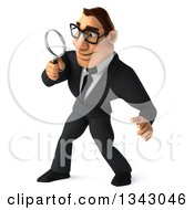 Clipart Of A 3d Bespectacled Macho White Businessman Facing Left And Searching With A Magnifying Glass Royalty Free Illustration by Julos