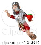 Clipart Of A 3d Young Male Roman Legionary Soldier Holding A Strawberry And Flying Royalty Free Illustration