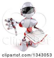 Clipart Of A 3d White And Red Robot Holding Up A Thumb Down And A Book Royalty Free Illustration