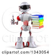 Clipart Of A 3d White And Red Robot Giving A Thumb Up And Holding A Stack Of Books Royalty Free Illustration