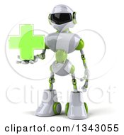 Clipart Of A 3d White And Green Male Techno Robot Holding A Cross Royalty Free Illustration
