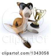 Clipart Of A 3d Kangaroo Wearing Sunglasses Facing Slightly Right Holding Up A Thumb And A Trophy Royalty Free Illustration by Julos