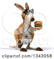 Clipart Of A 3d Kangaroo Wearing Sunglasses Facing Slightly Right And Holding A Double Cheeseburger Royalty Free Illustration